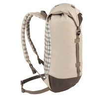 Side view of the Wenzel Boulderdasche 30 pack, tan and brown with gray straps, fully closed showing the plaid underside shoulder straps and back panel