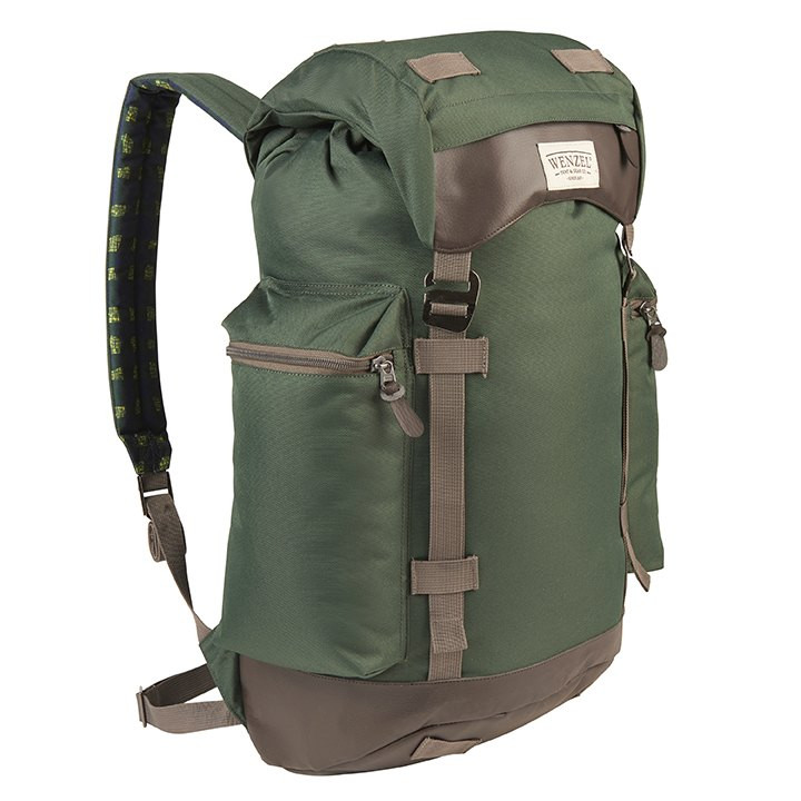 Front side view of the Wenzel Boulderdasche 33, green and brown, fully closed showing the Wenzel logo and zippered pocket