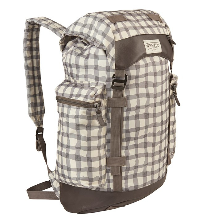 Front side view of the Wenzel Boulderdasche 33, white and gray plaid with brown, fully closed showing the Wenzel logo and zippered pocket