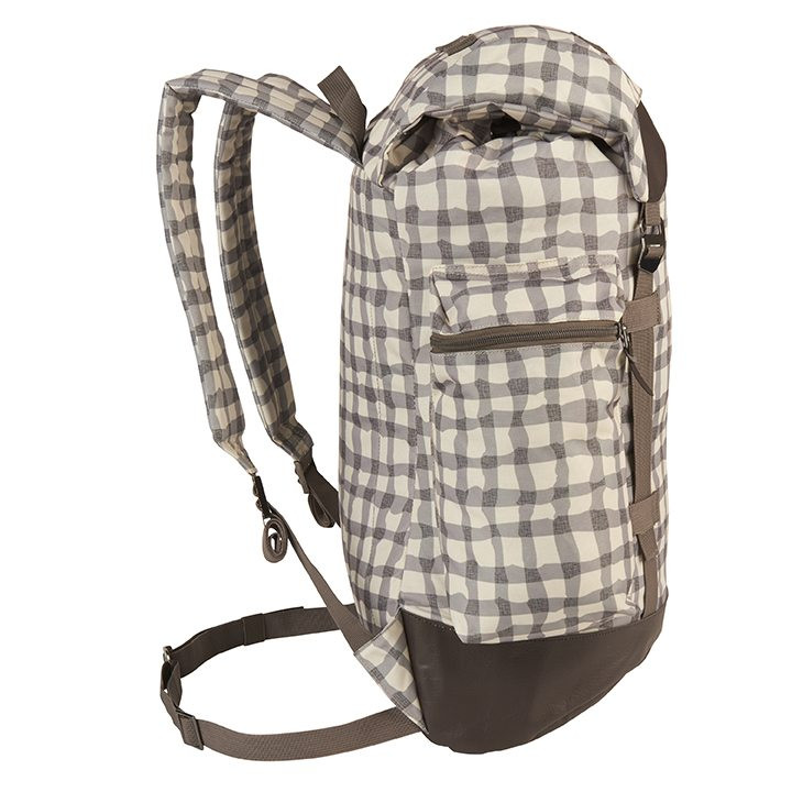 Side view of the Wenzel Boulderdasche 33, white and gray plaid with brown, showing plaid back panel and underside shoulder straps