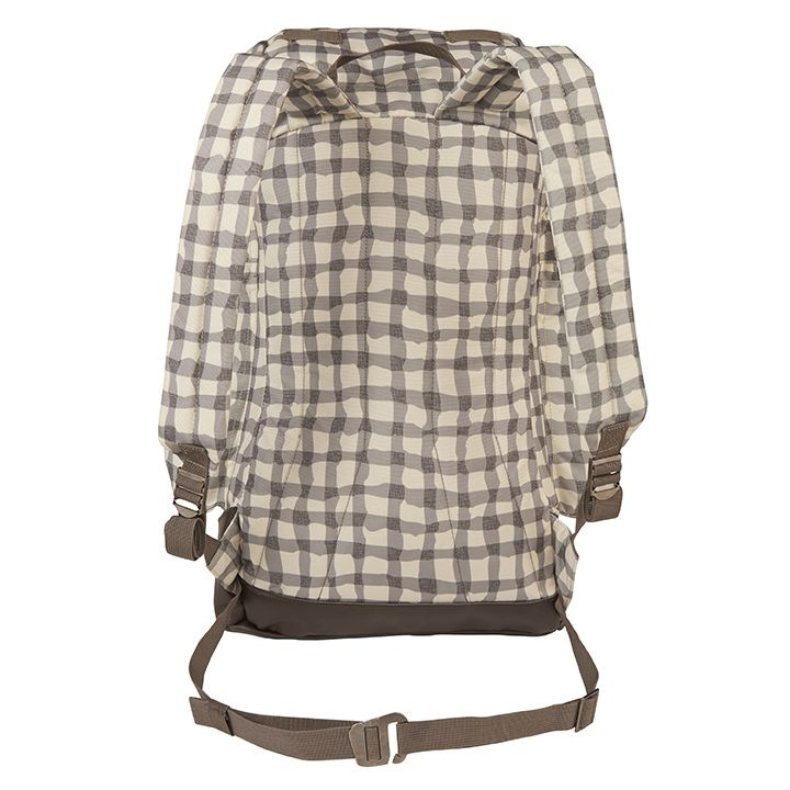 Back view of the Wenzel Boulderdasche 33, white and gray plaid, showing the padded shoulder straps and the adjustable waist band