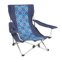 Wenzel Low Rise Quad Chair, blue with alternating dark blue and white square pattern, setup
