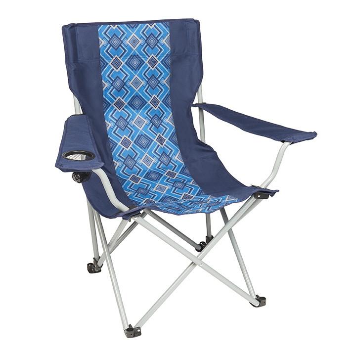 Wenzel Quad Chair, blue with alternating blue diamond pattern, setup