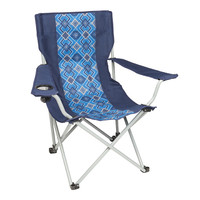 Wenzel Quad Chair, blue with alternating blue diamond pattern, setup