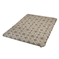 Wenzel Double NeverFlat Fabric Air Pad, gray white and red square pattern, laying flat fully inflated