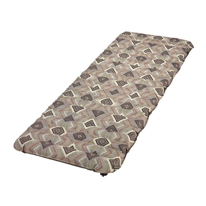 Wenzel Single NeverFlat Fabric Air Pad, brown with alternating diamond pattern, completely inflated and laying flat