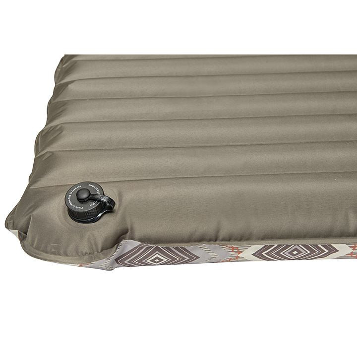 Close up view of the bottom of the Wenzel Single NeverFlat Fabric Air Pad showing the air valve and brown underside
