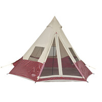 Wenzel Shenanigan 5 tent, red and black plaid with tan, setup with the guy lines extended and the main and side screen windows rolled open