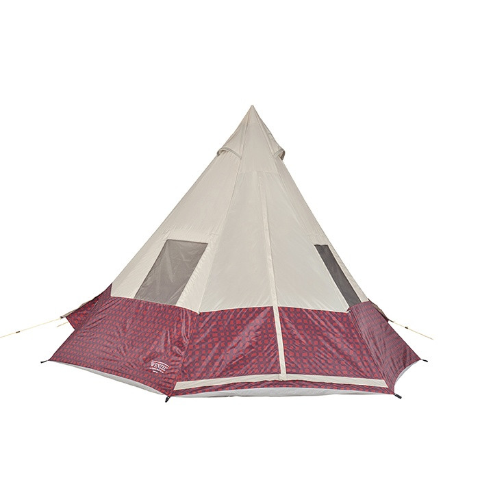 Wenzel Shenanigan 5 tent, red and black plaid with tan, setup with the guy lines extended and the main screen windows closed with the side screen windows open