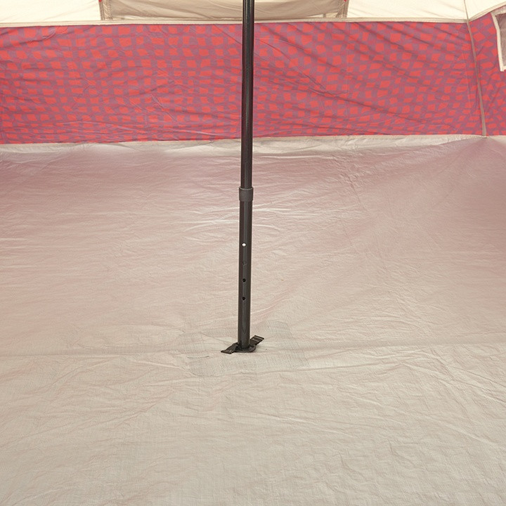 Close up view of the center support pole inside of the Wenzel Shenanigan 5 tent