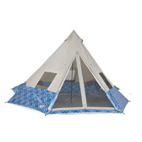 Wenzel Shenanigan 8 tent, blue and white diamond alternating pattern with gray, setup with the main and side screen windows rolled open