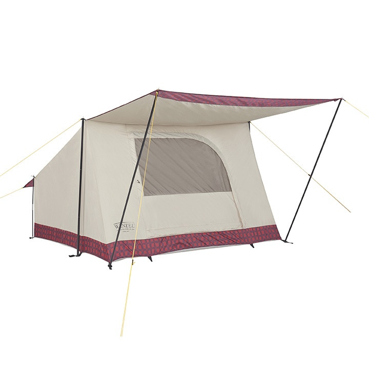 Wenzel Ballyhoo 2 tent set up with the screen door closed, guy lines extended, and the porch open