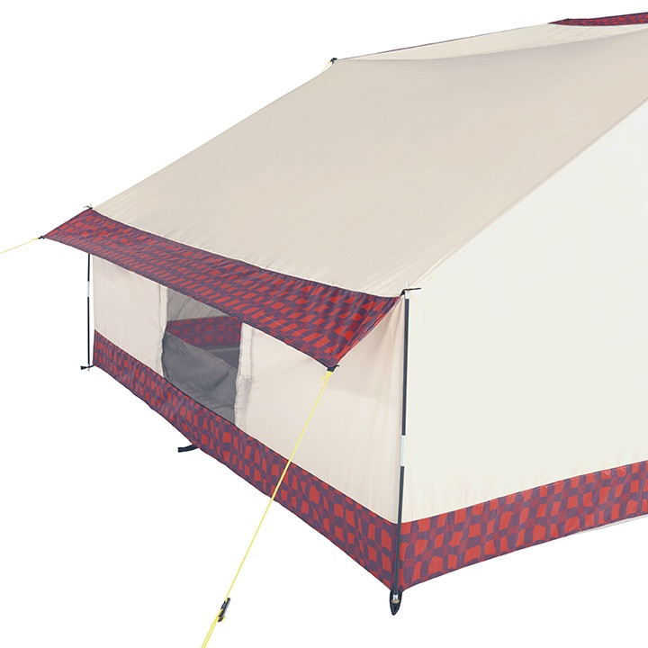 Back view of the Wenzel Ballyhoo 2 tents with guy lines extended showing the back screen viewing door open and the mini awning extended