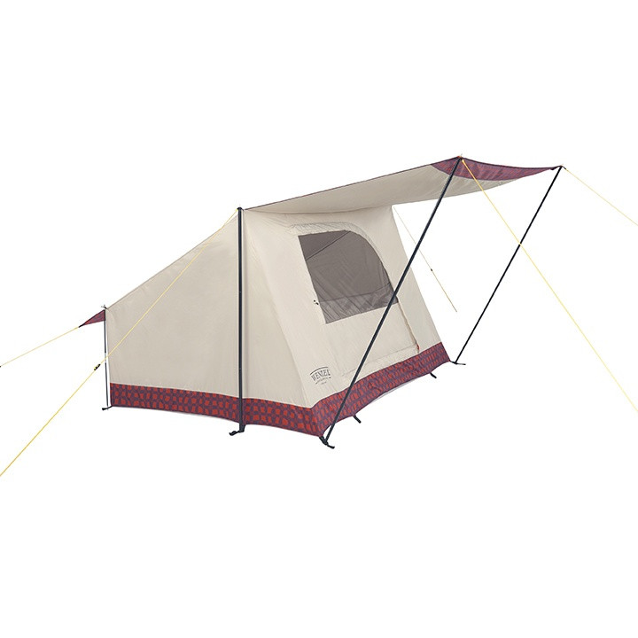 Side view of the Wenzel Ballyhoo 2 tent set up with the screen door open, guy lines extended, and the porch open