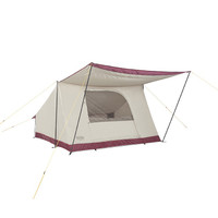 Wenzel Ballyhoo 4 Tent, tan with red, completely set up with the awning extended, and the screen door open