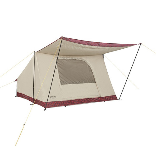 Wenzel Ballyhoo 4 Tent, tan with red, completely set up with the awning extended, and the screen door closed