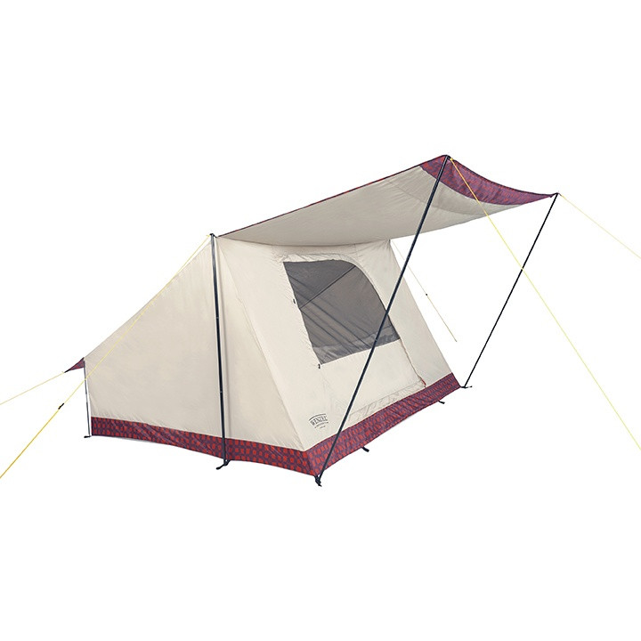 Side view of the Wenzel Ballyhoo 4 Tent completely set up with the awning extended and the screen door open