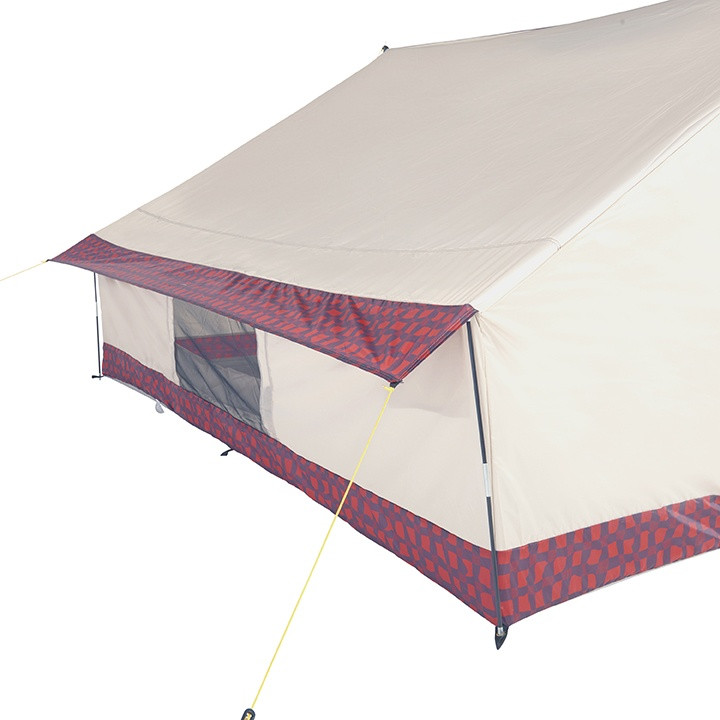 Back view of the Wenzel Ballyhoo 4 Tent setup with the back awning extended and the screen door open showing the inside of the tent