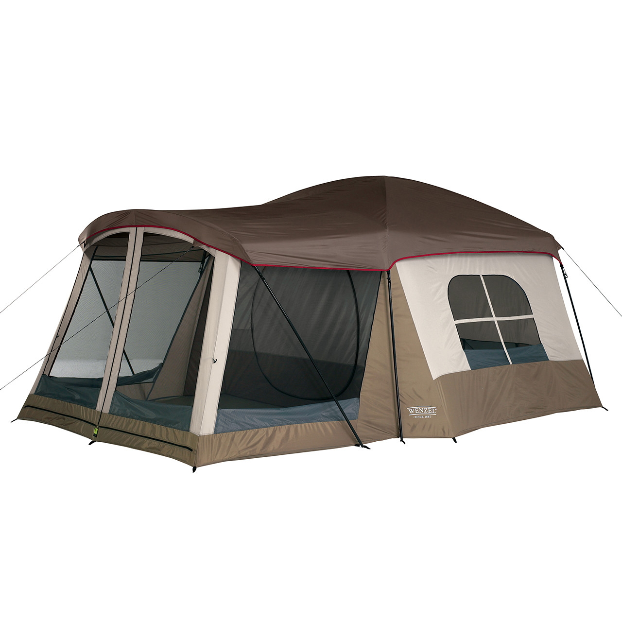 Wenzel Klondike 8 tent, green and tan, setup with the rain fly on and the vestibule screen windows open and the main tent screen window open