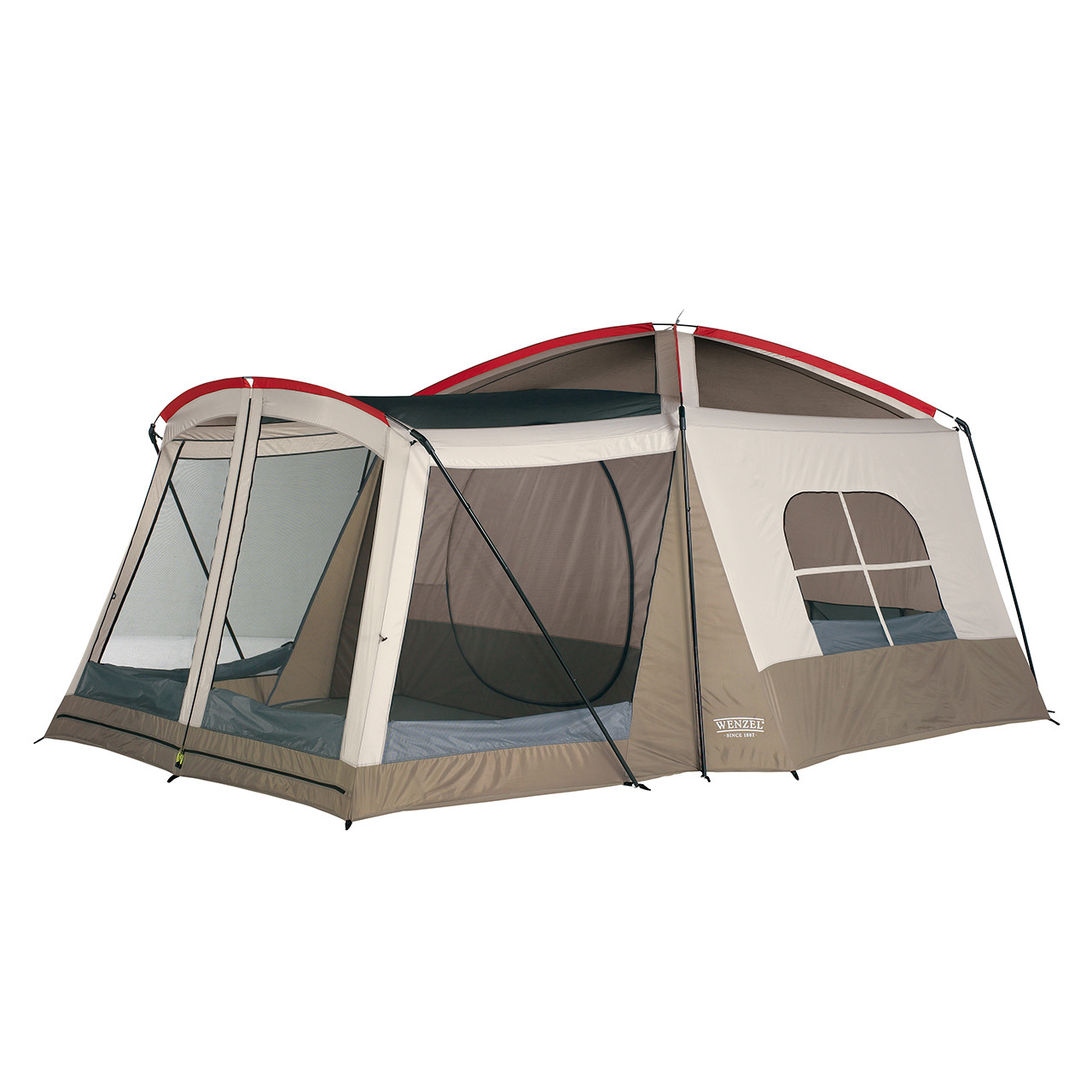 Wenzel Klondike 8 tent, green and tan, setup without the rain fly on and the vestibule screen windows open and the main tent screen window open