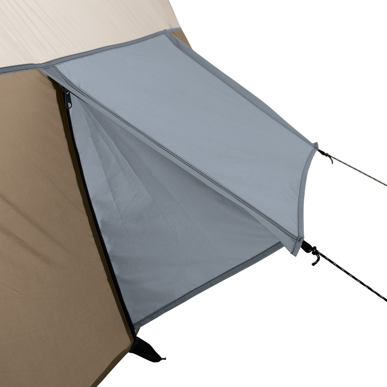 Close up view of a vent zipped open and extended with guy lines on the Wenzel Klondike 8 tent