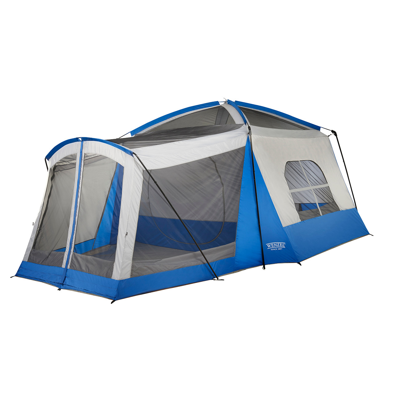 Wenzel Klondike 8 tent, blue and tan, setup without the rain fly on and the vestibule screen windows open and the main tent screen window open