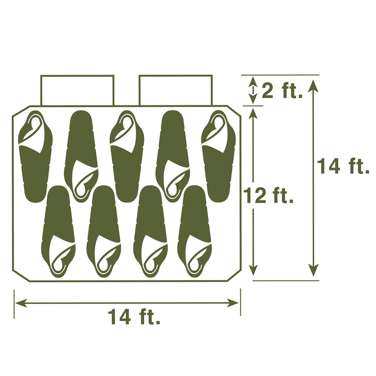 Diagram of the floor sleeping plan for the Wenzel Kodiak 9 tent with people in sleeping bags to illustrate how to arrange 9 people