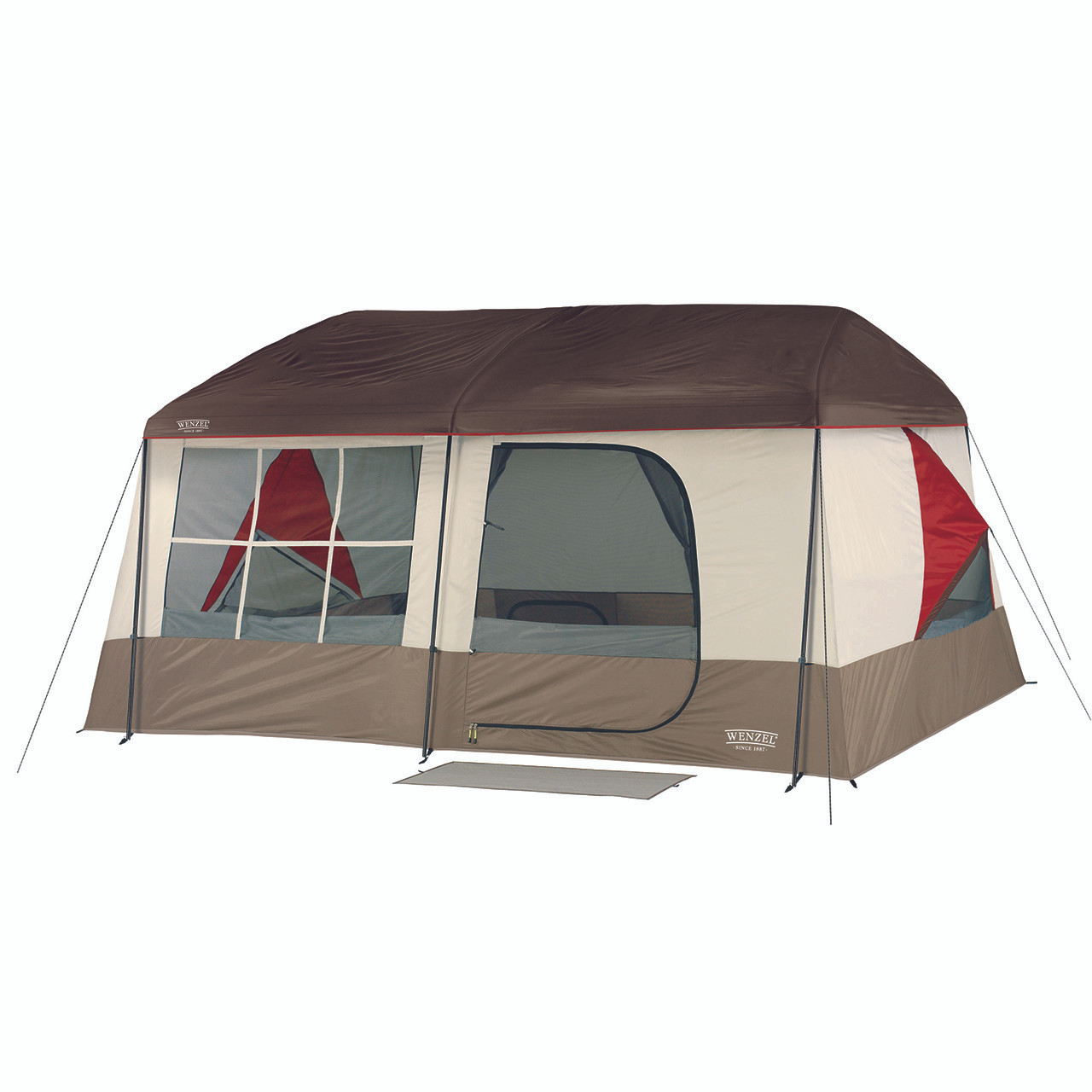 Wenzel Kodiak 9 tent setup with the rain fly on and the main screen door windows open with the side vent open and guy line extended