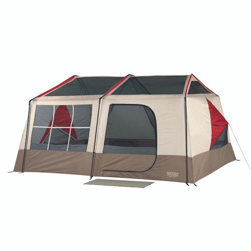 Wenzel Kodiak 9 tent setup without the rain fly on and the main screen door windows open with the side vent open and guy line extended