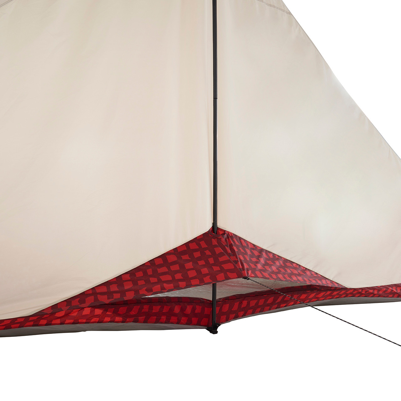 Back view of the Wenzel Ivanhoe 6 tent with the screen vent open and the guy line extended
