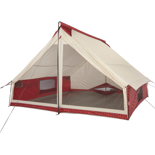Front view of the Wenzel Ivanhoe 6 tent, tan with red and black plaid completely setup with the main screen doors open and all of the side screen windows open with guy lines extended