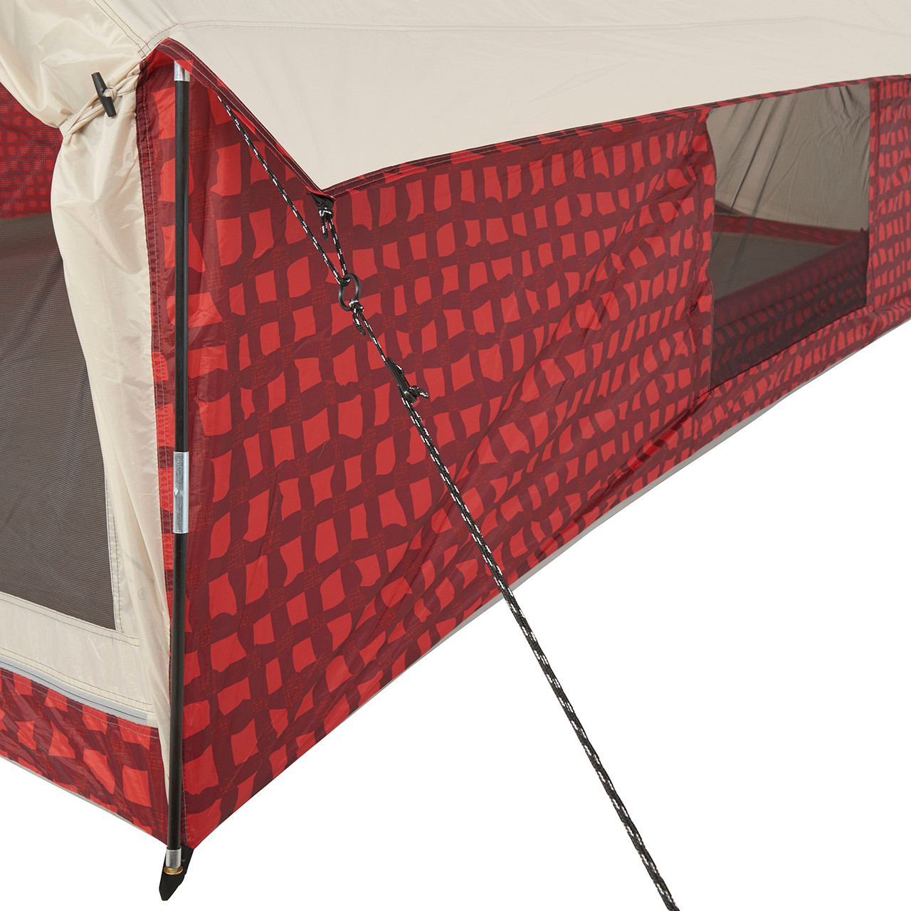 Close up view of the side awning on the Wenzel Ivanhoe 6 tent with the side and main screen doors open and the guy line extended