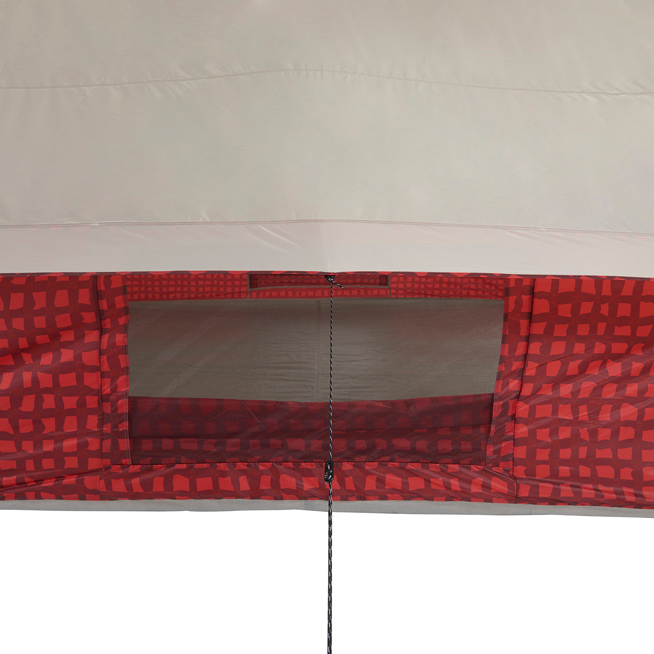 Close up view of the side awning guy line extended and side screen window open on the Wenzel Ivanhoe 6 tent