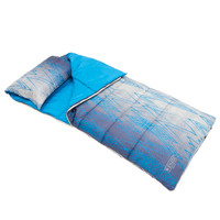 Wenzel Hayward sleeping bag, dark to light blue and white, laying flat with the zipper corner partially unzipped and folded over showing the removable pillow and light blue interior of the sleeping bag