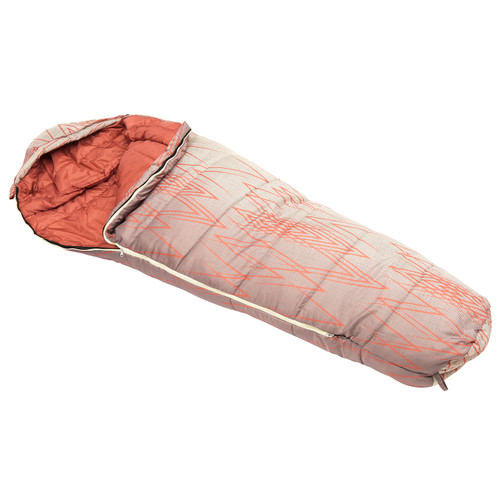 Wenzel Wyatt sleeping bag, tan and white with orange lines, laying flat with the corner partially unzipped and folded over showing the orange interior of the sleeping bag