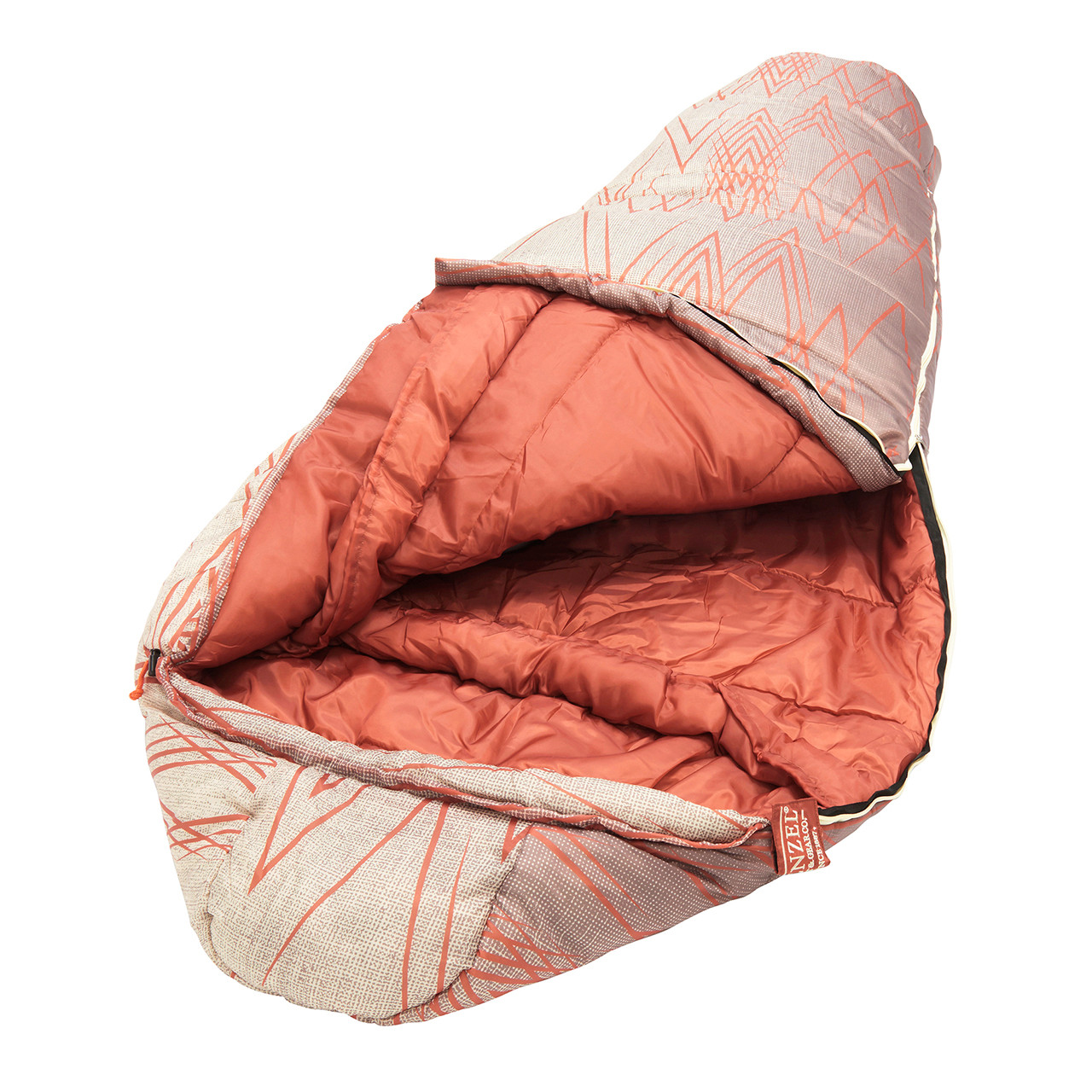 Close up view of the head portion of the Wenzel Wyatt sleeping bag laying flat with the corner partially unzipped and folded over showing the orange interior of the sleeping bag