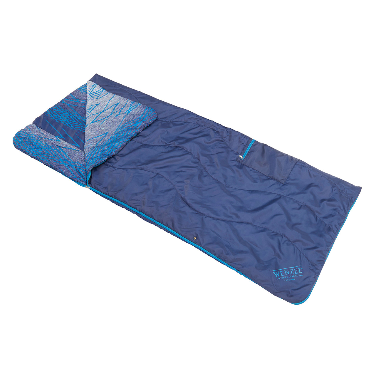 Wenzel Everett All-In-One Poncho, blue, laying flat as a sleeping bag with one corner slightly folded over showing a multi-color blue interior