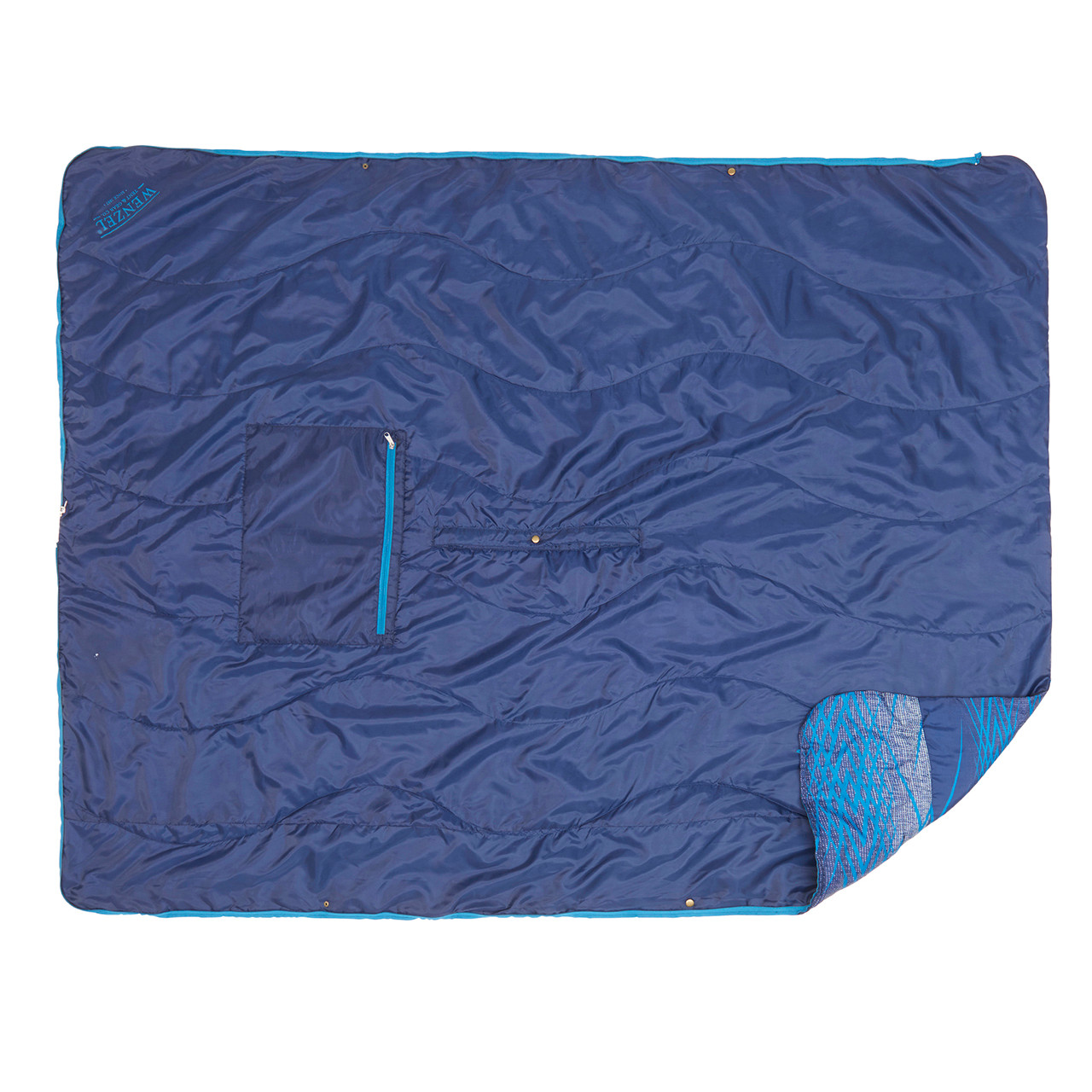 Bottom view of the Wenzel Everett All-In-One Poncho, blue, with one corner slightly folded over showing the multi-color blue topside