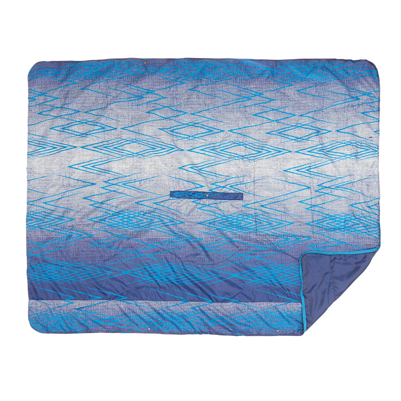 Top view of the Wenzel Everett All-In-One Poncho with one corner slightly folded over showing the blue underside