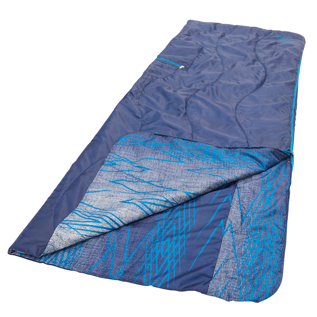 Wenzel Everett All-In-One Poncho, laying flat set up as a sleeping bag with a corner slightly folded over showing the multi-color blue interior
