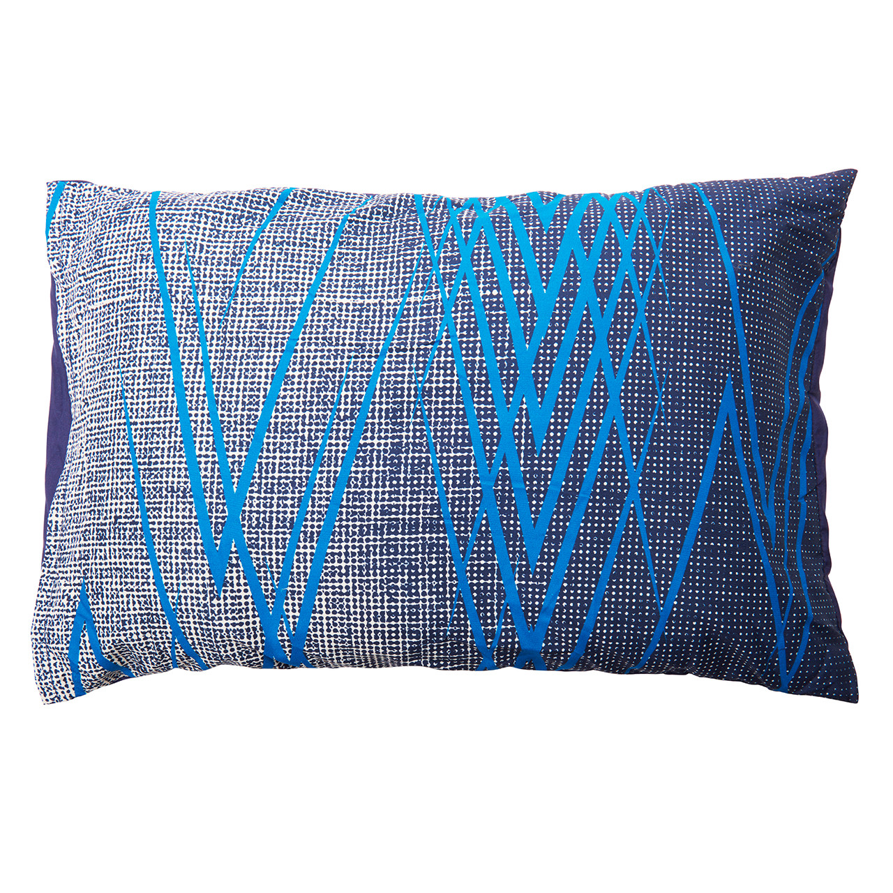 Wenzel Camp pillow, black and white with blue stripes, laying flat