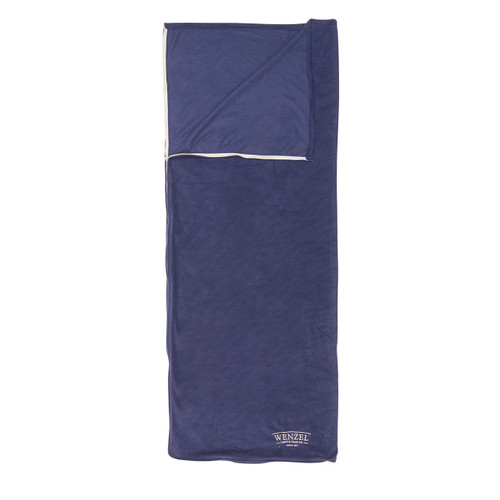 Wenzel Flannery Fleece sleeping bag, purple, laying flat with the zipper corner partially open and folded over showing the purple interior of the sleeping bag