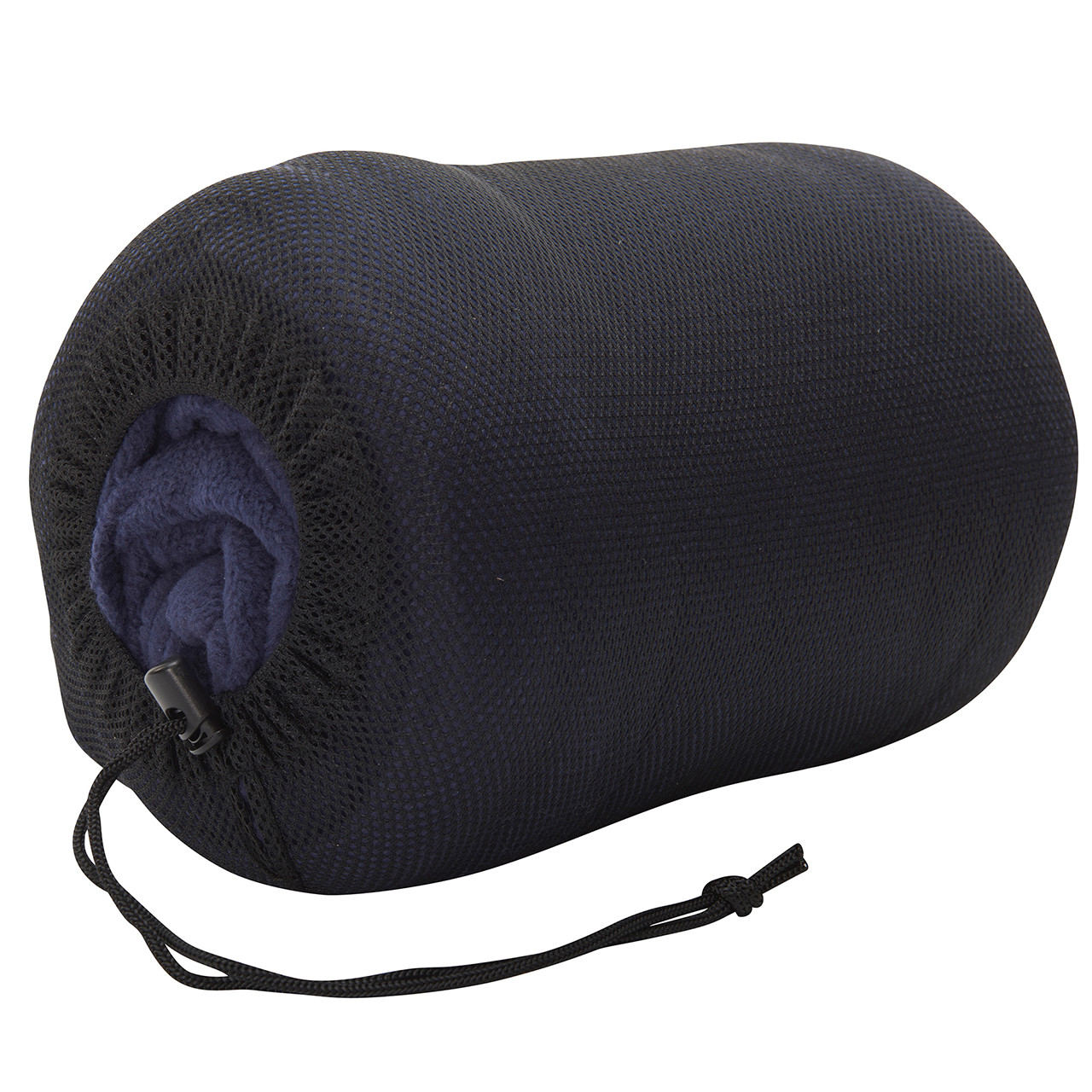 Wenzel Flannery Fleece sleeping bag, purple, stored in the black mesh storage bag