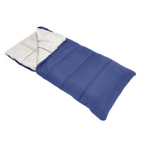 Wenzel Camper 40 Degree Sleeping Bag, blue, laying flat with a corner folded over showing the tan inside of the sleeping bag