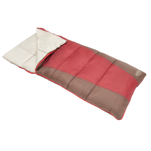 Wenzel Lakeside 40 degree sleeping bag, red and green, laying flat with the zipper partially undone and the corner folded over showing the tan interior of the sleeping bag