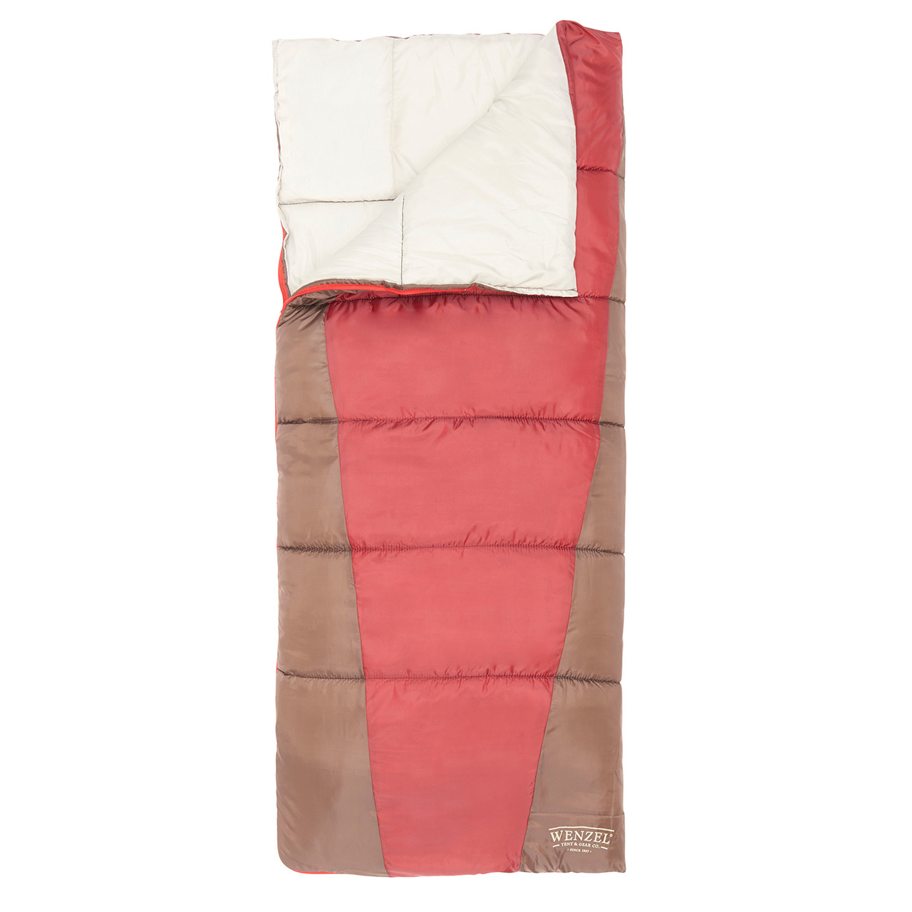 Top down view of the Wenzel Lakeside 40 degree sleeping bag, red and green, laying flat with the zipper partially undone and the corner folded over showing the tan interior of the sleeping bag