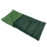 Wenzel Cascade 3 40 degree sleeping bag, dark green, laying flat with a corner folded over showing the light green interior of the sleeping bag