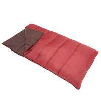 Wenzel Cascade 5 20 degree sleeping bag, red, laying flat with a corner partially folded over to show the brown interior of the sleeping bag