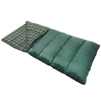 Wenzel Castlewood 20 Degree sleeping bag, green, laying flat with a corner partially folder over to show the black and gray plaid interior of the sleeping bag