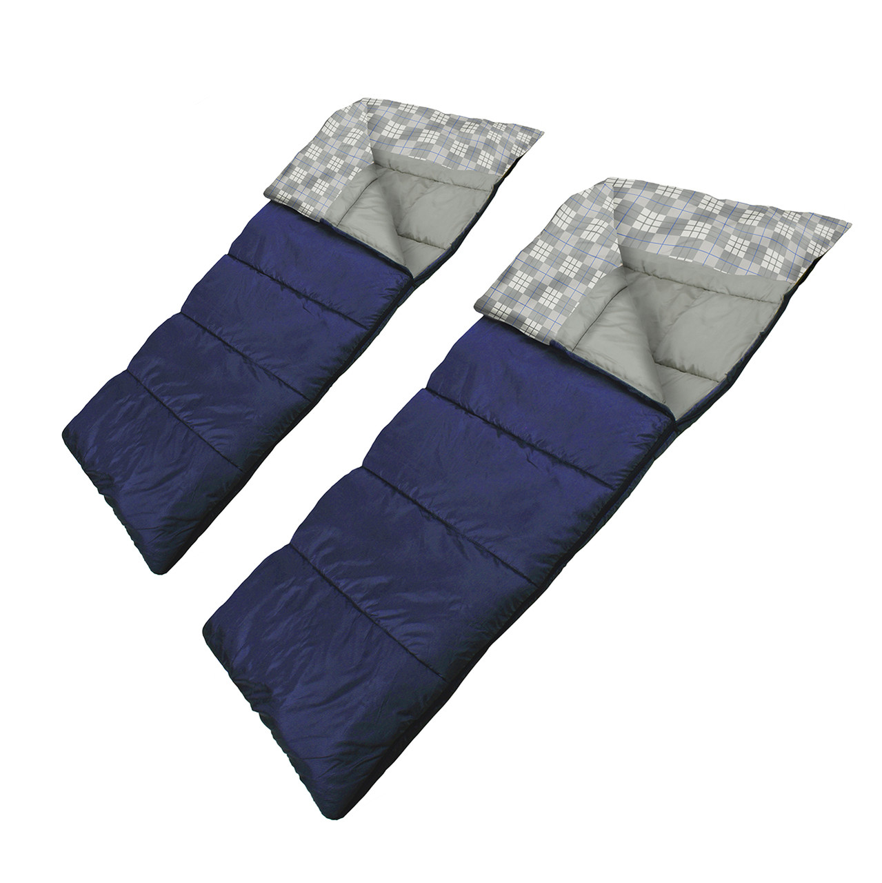Wenzel Ozzy & Harriet 40 degree sleeping bag, blue, not zipped together both laying flat with the corners partially folded over showing the gray/white plaid and gray interior of the sleeping bags